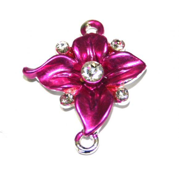 Ipce x 27mm*23mm Ornate pink flower connector - enameled alloy charm with rhinestones